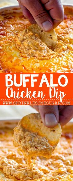 Chicken Dip Buffalo Chicken Dip - This buffalo chicken dip is super creamy, extra cheesy and has the perfect amount of heat!Buffalo Chicken Dip - This buffalo chicken dip is super creamy, extra cheesy and has the perfect amount of heat! Appetizer Dips, Appetizers For Party, Appetizer Recipes, Party Snacks, Party Dips, Appetizer Dessert, Dip Recipes, Cooking Recipes, Party Recipes