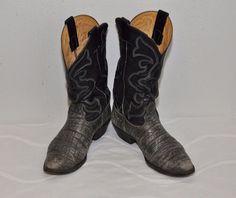 Nocona Mens Boots Elephant 9.5 E  Two-Tone Rockabilly leather Black & Gray  #Nocona #CowboyWestern