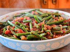 Get Green Beans with Tomatoes Recipe from Food Network Oven Green Beans, Green Beans With Almonds, Green Beans And Tomatoes, Thanksgiving Side Dishes, Thanksgiving Recipes, Vegetable Side Dishes, Vegetable Recipes, Recipes Using Fruit, Green Bean Recipes