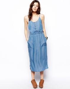 Image 1 ofASOS Tencel Denim Cami Midi Dress