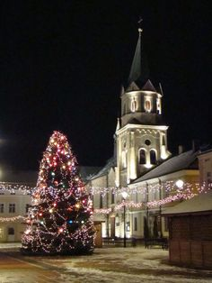 Night in Sanok, Poland