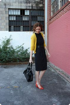 (dot dress, belt, colorful cardigan, red shoes) by Feathers, via Flickr