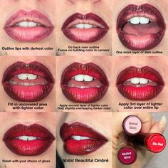 Ever thought about doing an ombré look with your lip color? Here are the steps with LipSense Colors and Gloss