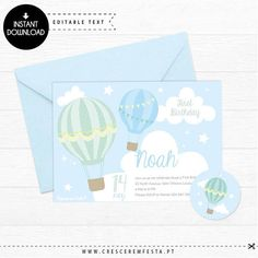 Hot air Balloon - Blue, Party Printable Invitation | Instant Download | Edit with Adobe Reader