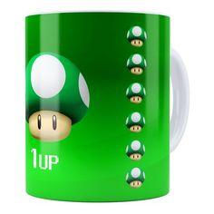 Caneca  Super Mario Bros Toad Verde 1UP