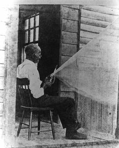 Former slave from coastal Georgia making a fishnet, early twentieth century.