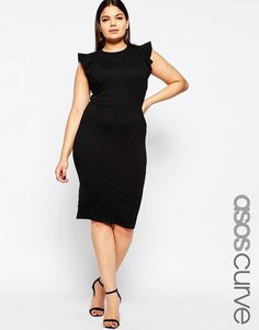 Plus Size Body-Conscious Dress With Frill Sleeve