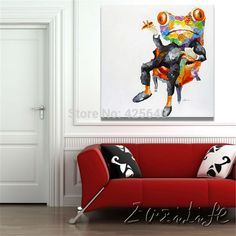 Pop art Frog Oil paintings On Canvas Wall Pictures Art For Living Room Canvas abstract hand painted christmas home decor Cuadros staircase idea *** AliExpress Affiliate's Pin. Click the VISIT button to find out Abstract Canvas, Oil Painting On Canvas, Canvas Wall Art, Knife Painting, Painting Art, Living Room Canvas, Living Room Paint, Wrought Iron Wall Art, Cheap Paintings