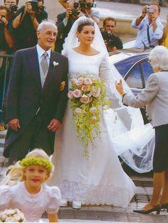 Princess Clotilde of Savoy, Princess of Venice and Piedmont with her father on her wedding to Prince Emanuele Filiberto.