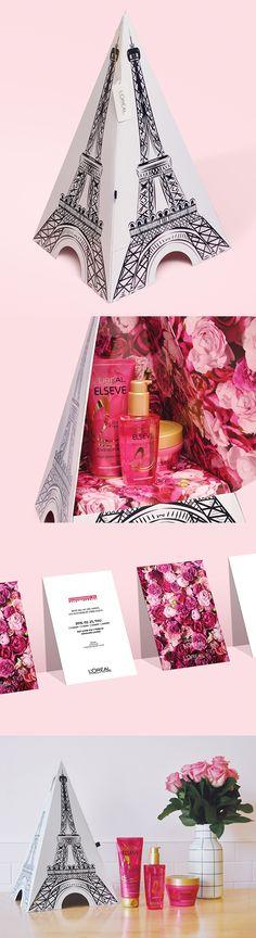 LOREAL PARIS-EXTRAORDINARY ROSE OIL PRESS KIT cosmetics packaging design