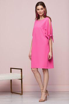 Mireya Tie Sleeve Pink Dress Types Of Sleeves, Pink Dress, Cold Shoulder Dress, Tie, Fabric, Pattern, House, Ideas, Dresses