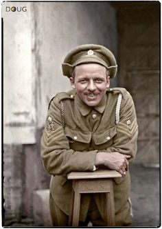 An unknown British Army Service Corps Staff Sergeant, in Vignacourt in the Somme region of France. colourised by Doug Battle Of The Somme, Battle Of Britain, British Soldier, British Army, World War One, First World, Commonwealth, Schlacht An Der Somme, Ww1 Soldiers