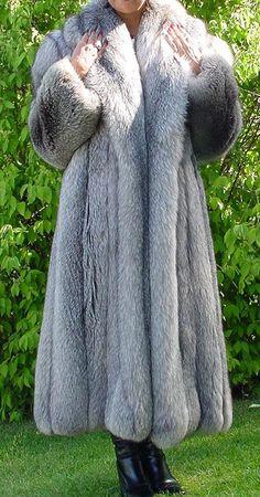 Long Indigo Fox Fur Coat