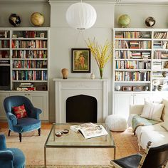 Eclectic + perfect styling.. love the globes!