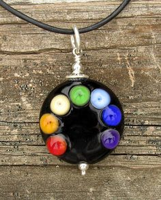 Handmade Rainbow Dots Lampwork Glass Bead by CourtneyBDesigns, $35.00