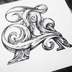 Letter throwback on the alphabet series. Back on a big mural for a jolly big client tomorrow. Looking forward to big inking again. Tattoo Lettering Fonts, Graffiti Lettering, Typography Letters, Graphic Design Typography, Lettering Design, Hand Lettering, Typographie Inspiration, Schrift Tattoos, Letter Art