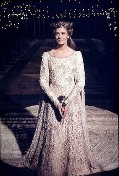 Camelot - 1967 - Vanessa Redgrave as Guenevere. designer: John Truscott. A variety of seeds were used to bead the dress.