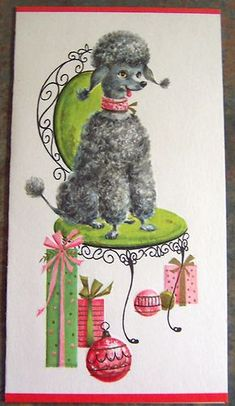Vintage Christmas Card French Poodle