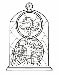 coloring pages - Beauty and the beast stained glass idea colour coming soon StainedGlassDrawing Rose Coloring Pages, Disney Coloring Pages, Adult Coloring Pages, Coloring Books, Coloring Sheets, Disney Diy, Disney Crafts, Disney Ideas, Walt Disney