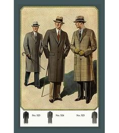 Chesterfield Fly-Front Overcoat Giclee on Canvas Vintage Outfits, Vintage Fashion, 1940s Mens Fashion, Vintage Clothing, Victorian Fashion, Clothing Ideas, Picnic Outfits, Mens Overcoat, Golf Fashion
