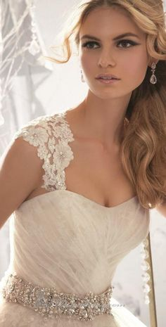 Embellished Pleated Strapless Gown by Bridal by Mori Lee #bride #wedding ♥
