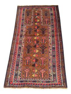 Handmade Persian Baluchi Rug - 2′4″ × 4′5″ on Chairish.com