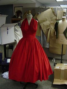 Red 50s Halter Dress with Petticoat