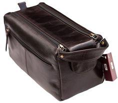 Prime Hide Mens' Dark Brown Leather Wash Bag - 917