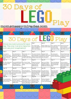 30 Days of LEGO Play is a free calendar you can print with 30 days of fun LEGO challenges!