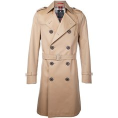 Loveless classic trench coat (28.280 RUB) ❤ liked on Polyvore featuring men's fashion, men's clothing, men's outerwear, men's coats, beige, men's cotton sport coat, mens trench coat and mens cotton trench coat