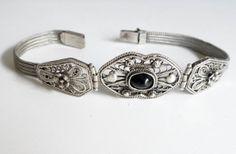 Vintage 1990s Sterling Silver Bracelet / Romantic Flower / Greek Art