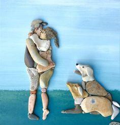 Pebbles 25 ideas for creative art inspiration – Artofit Stone Crafts, Rock Crafts, Pebble Painting, Stone Painting, Art Plage, Art Rupestre, Art Pierre, Pebble Art Family, Rock Sculpture