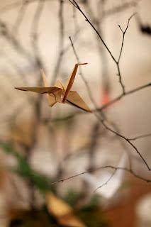 Yellow Origami Bird: Golden Origami Crane