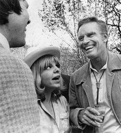 Charlton Heston (right) at Santa Fe Film Festival, Santa Fe, New Mexico, 1981...From The Santa Fe New Mexican collection.