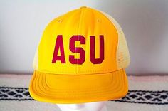Vintage-ASU-Arizona-State-University-Trucker-Hat-Mesh-Back-Yellow-Snapback