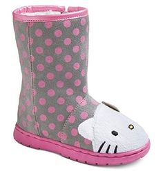 d5d9d5b79986 Hello Kitty Toddler Girls Faux Fur Lined Gray and Pink Boots (11 M US  LITTLE KID)