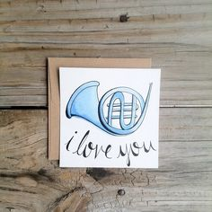Blue French Horn Flat Card, How I Met Your Mother Hand Drawn Note, HIMYM Hand Drawn Card by alittlepapery on Etsy https://www.etsy.com/listing/200852624/blue-french-horn-flat-card-how-i-met