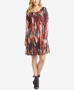 Karen Kane Printed Shift Dress - Red XS