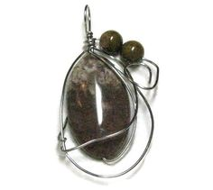 Subtle shades of brown Fancy Jasper Silver wire wrapped pendant necklace