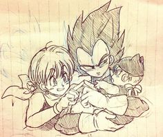 Bulma, Vegeta and Trunks. This is so cute oh god