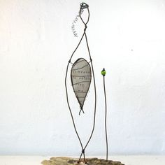 Wire Sculpture – Title: Guardian Angel.  Rustic Wire Art by Idestudiet. © 2012 All rights to this design reserved by Idestudiet.