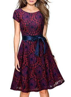 BCDshop Womens Halter Floral Lace Cocktail Party Dress Vintage Formal Swing Dresses