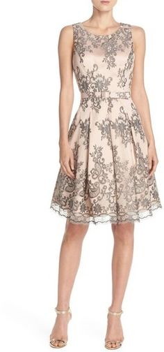 Shop for Belted Embroidered Mesh Fit & Flare Dress by Eliza J at ShopStyle. Now for Sold Out.