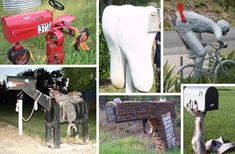 crazy mailbox designs... over 50, no sources, dragon, shark, vertebrae, repurposed junk like an old wringer washer tub.