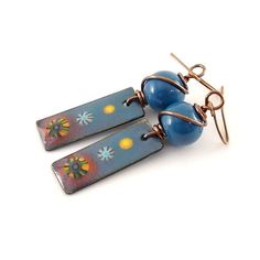 Blue Southwestern Charm Enameled Earrings  by CinLynnBoutique
