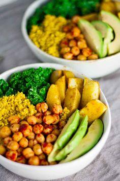 Vegan Curcuma Quinoa Bols Power!  Donc parfait pour un dîner sain et rapide!