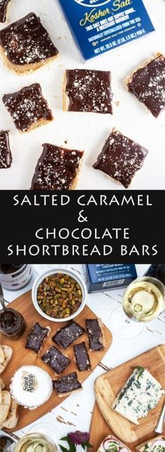 #ad Salted Caramel Chocolate Shortbread Bars   A decadent dessert bar recipe featuring a layer of crunchy shortbread, a layer of rich caramel, topped with chocolate ganache and finished with sea salt. #MadeInFrance
