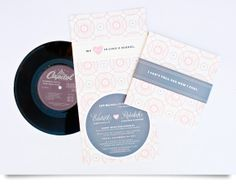 Music wedding invite. Love the old school vinyl record idea.