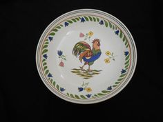 "Williams Sonoma Farmhouse Rooster Large Serving Bowl Salad Hand Painted 12 5"" $79.95 or BO Free Shipping."