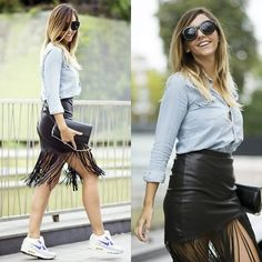 Get this look: http://lb.nu/look/7762572  More looks by Manuella Lupascu: http://lb.nu/manuella  Items in this look:  Nike Air Max Sneakers, Choies Fringe Leather Skirt, Denim Shirt, Sunglasses   #casual #chic #street